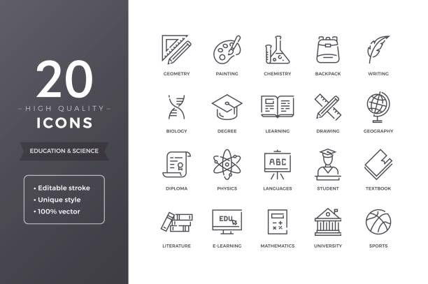 Education and Science Icons Education line icons. Vector e-learning and school icon set with editable stroke topics stock illustrations