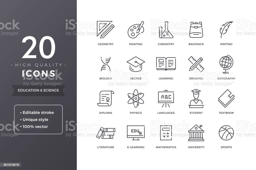 Education and Science Icons vector art illustration