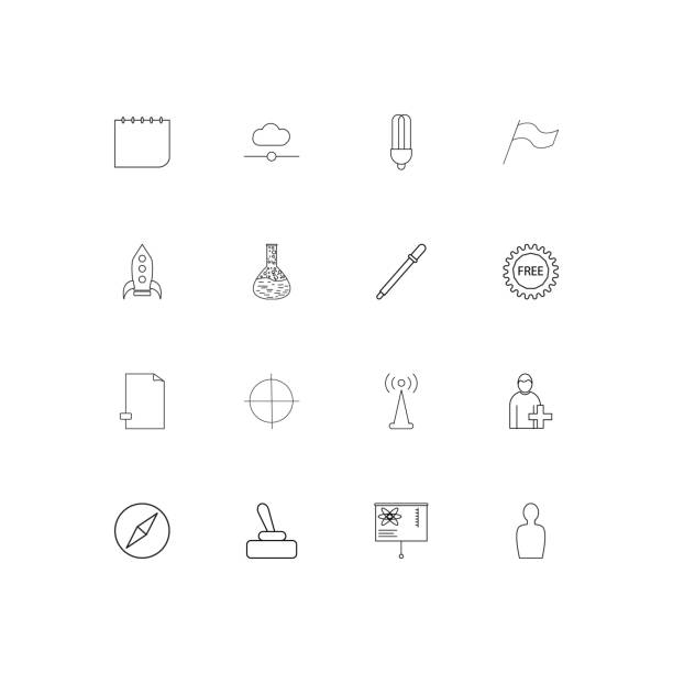 Education And Science linear thin icons set. Outlined simple vector icons vector art illustration