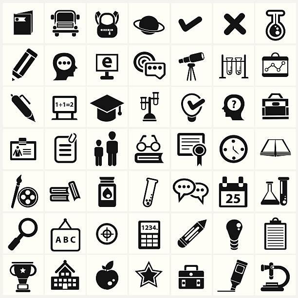 ilustraciones, imágenes clip art, dibujos animados e iconos de stock de la educación y ciencia señal, conjunto de iconos vectoriales - clase de arte
