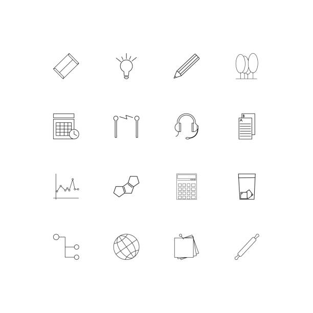 Education And Science simple linear icons set. Outlined vector icons vector art illustration