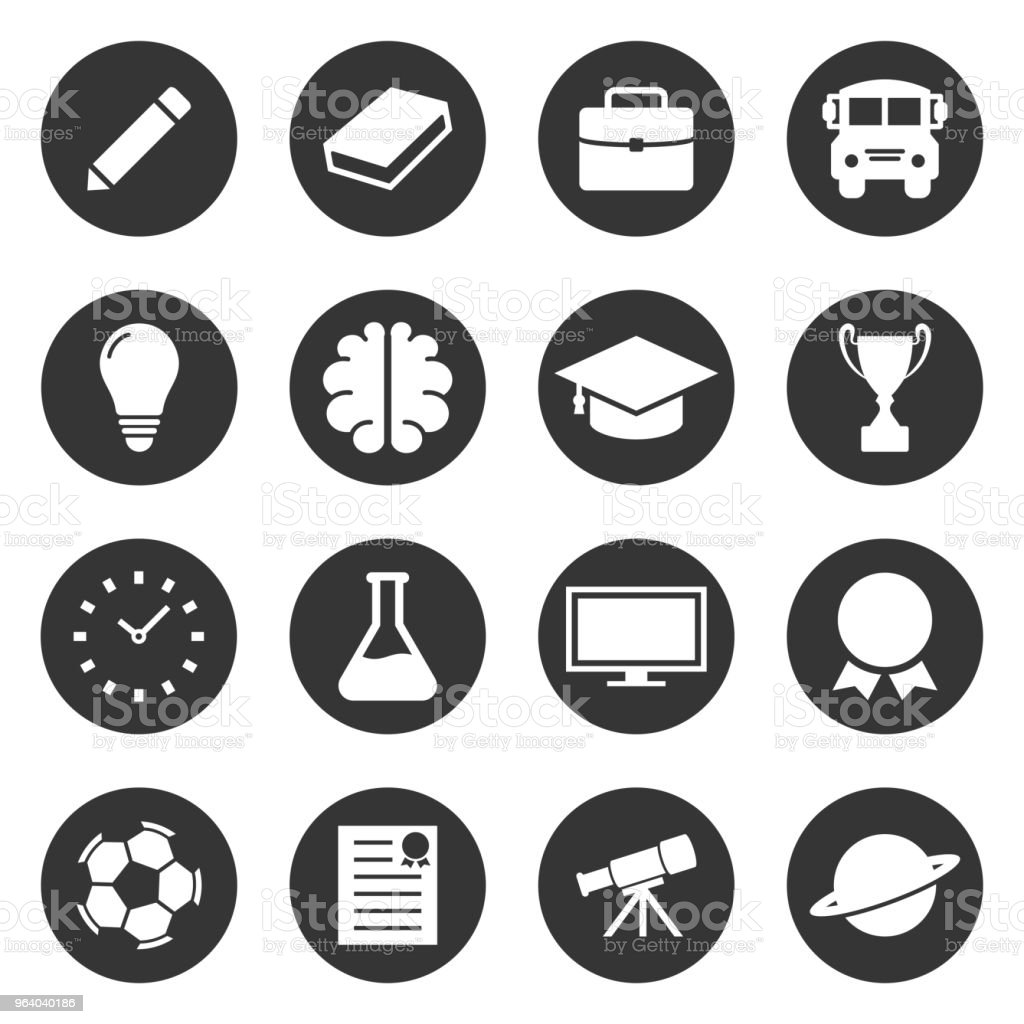 Education and space simple icon set vector design - Royalty-free Abstract stock vector