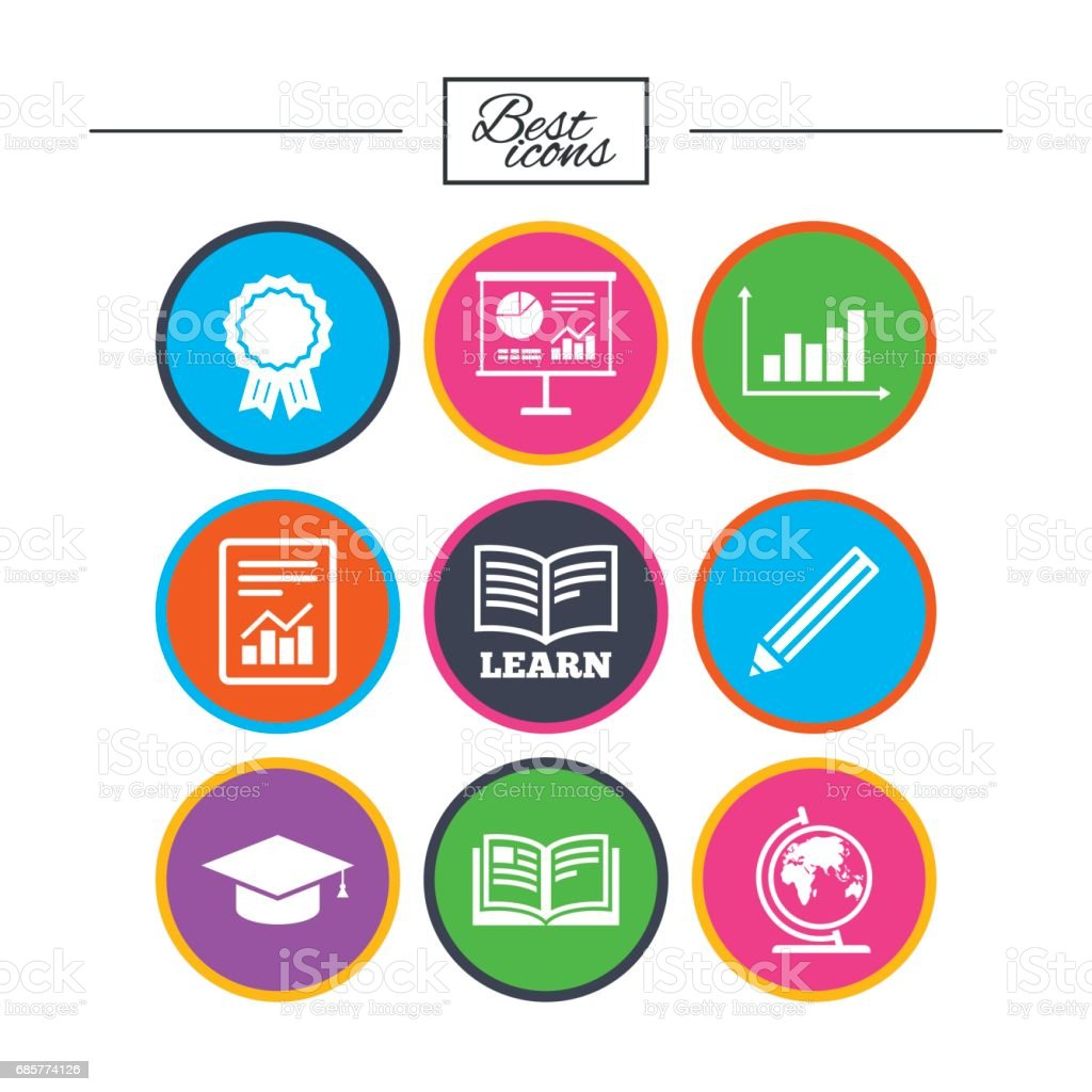 Education and study icon. Presentation signs. royalty-free education and study icon presentation signs stock vector art & more images of analyzing