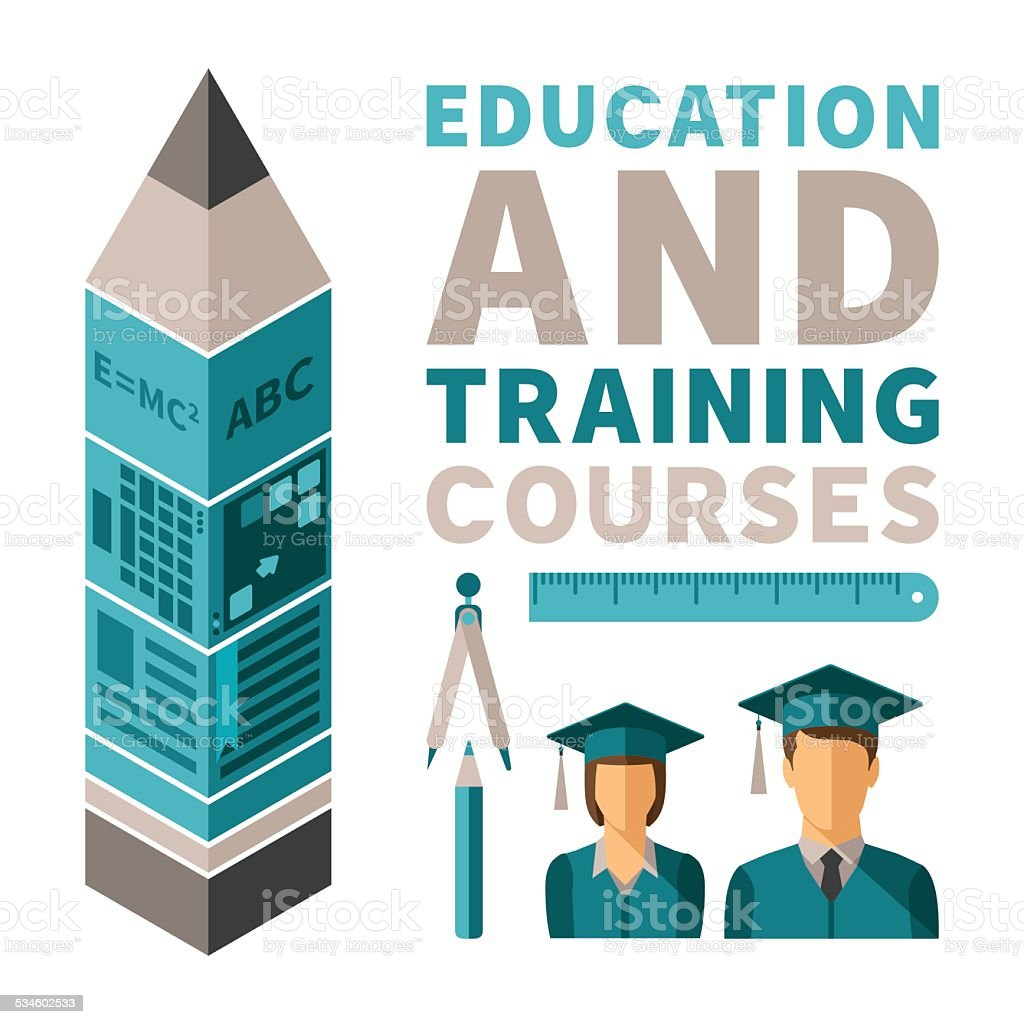 Education and training courses vector concept in flat style vector art illustration