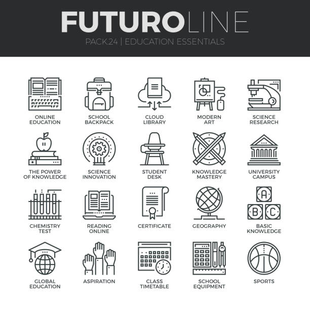 Education and Training Futuro Line Icons Set Modern thin line icons set of basic education training and studying online. Premium quality outline symbol collection. Simple mono linear pictogram pack. Stroke vector symbol concept for web graphics. campus stock illustrations