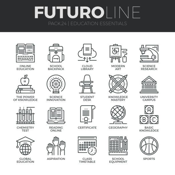 ilustrações, clipart, desenhos animados e ícones de educação e formação do futuro linha conjunto de ícones - aula de ciências
