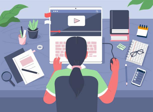stockillustraties, clipart, cartoons en iconen met onderwijs thuis - youtube