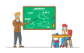 Education, Back to School Concept. Little Boring Schoolboy Character Sitting at Desk with Textbook in front of Blackboard with Teacher Explaining Geometry Lesson. Linear People Vector Illustration