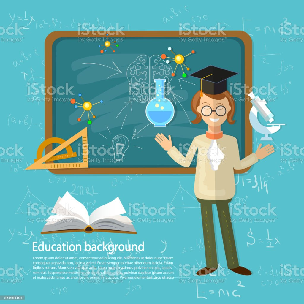 Education back to school student studying open book vector art illustration