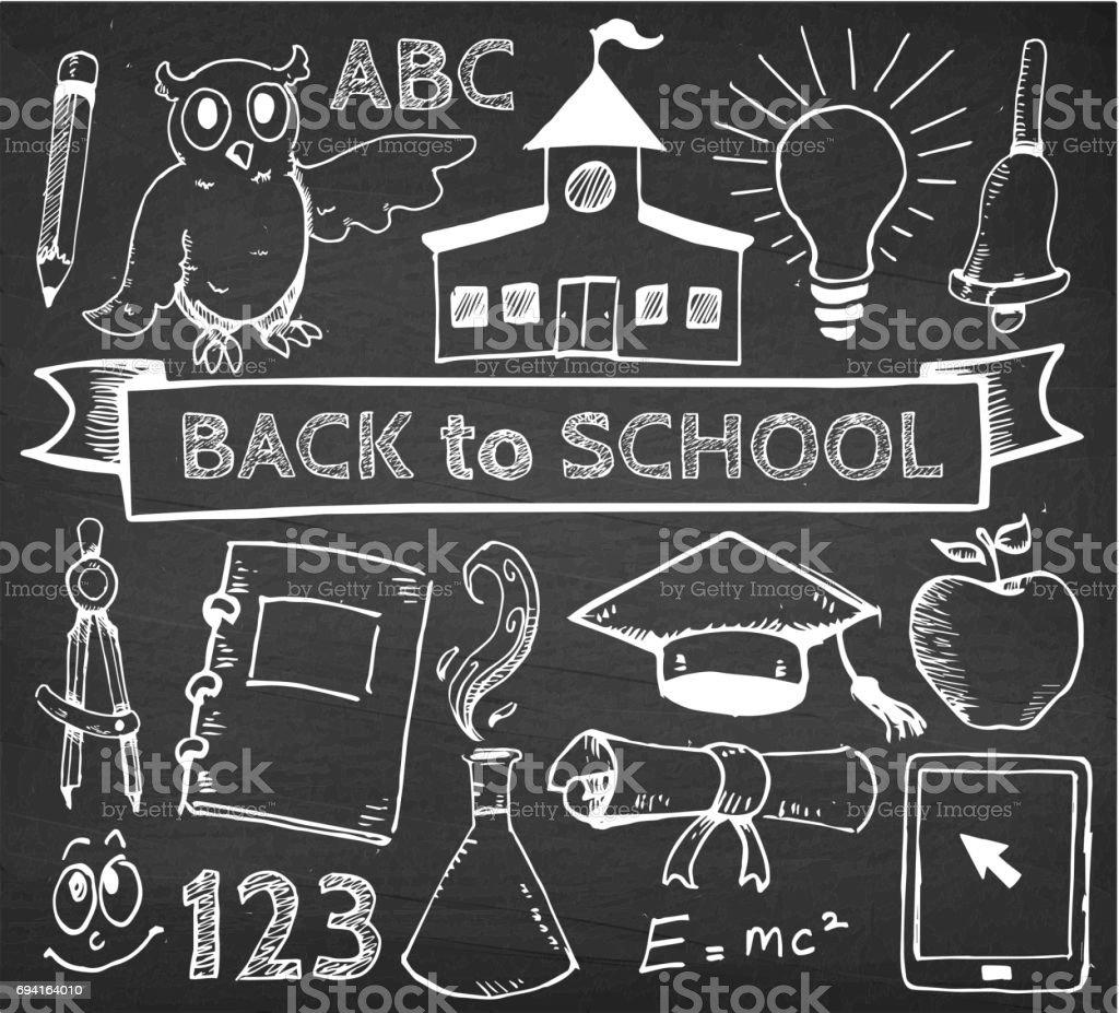 Educación volver a Vector mano dibujos en la pizarra de la escuela - ilustración de arte vectorial