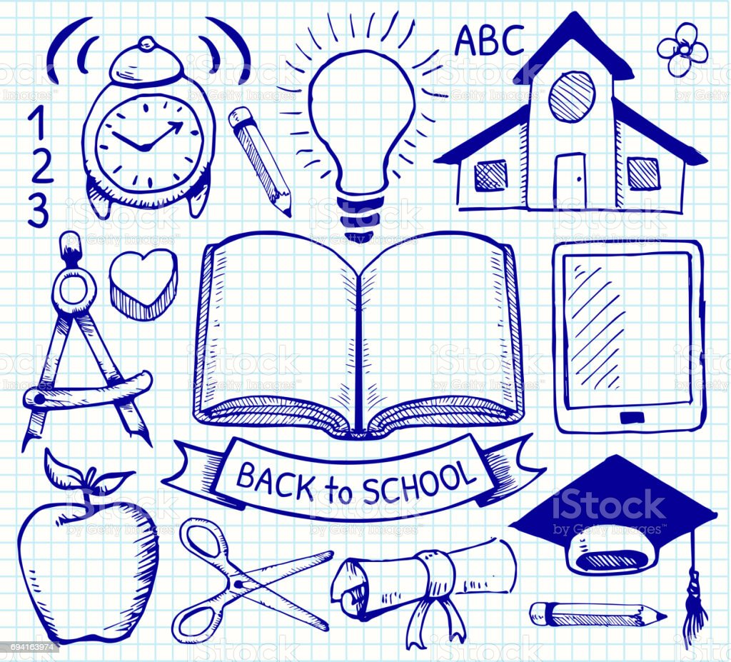 education back to school vector hand drawings on graph paper stock