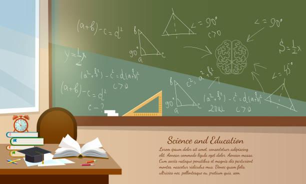 ilustrações, clipart, desenhos animados e ícones de educação fundo sala interior livros da escola na educação de mesa de volta para vector escola - aula de matemática