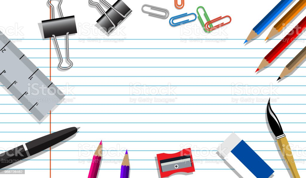 Education Background Concept With School Supplies On Paper And Copy ...