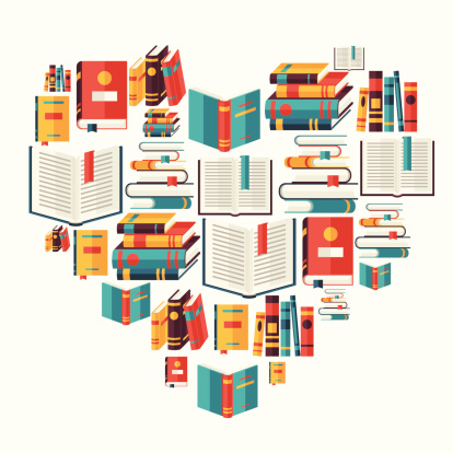 Education background with books in flat design style.
