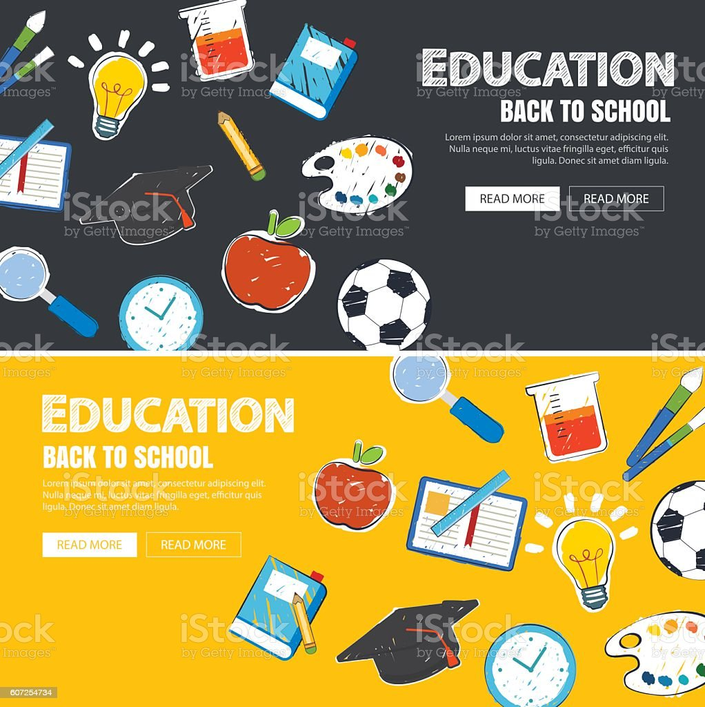 Education Banner And Back To School Background Template Stock
