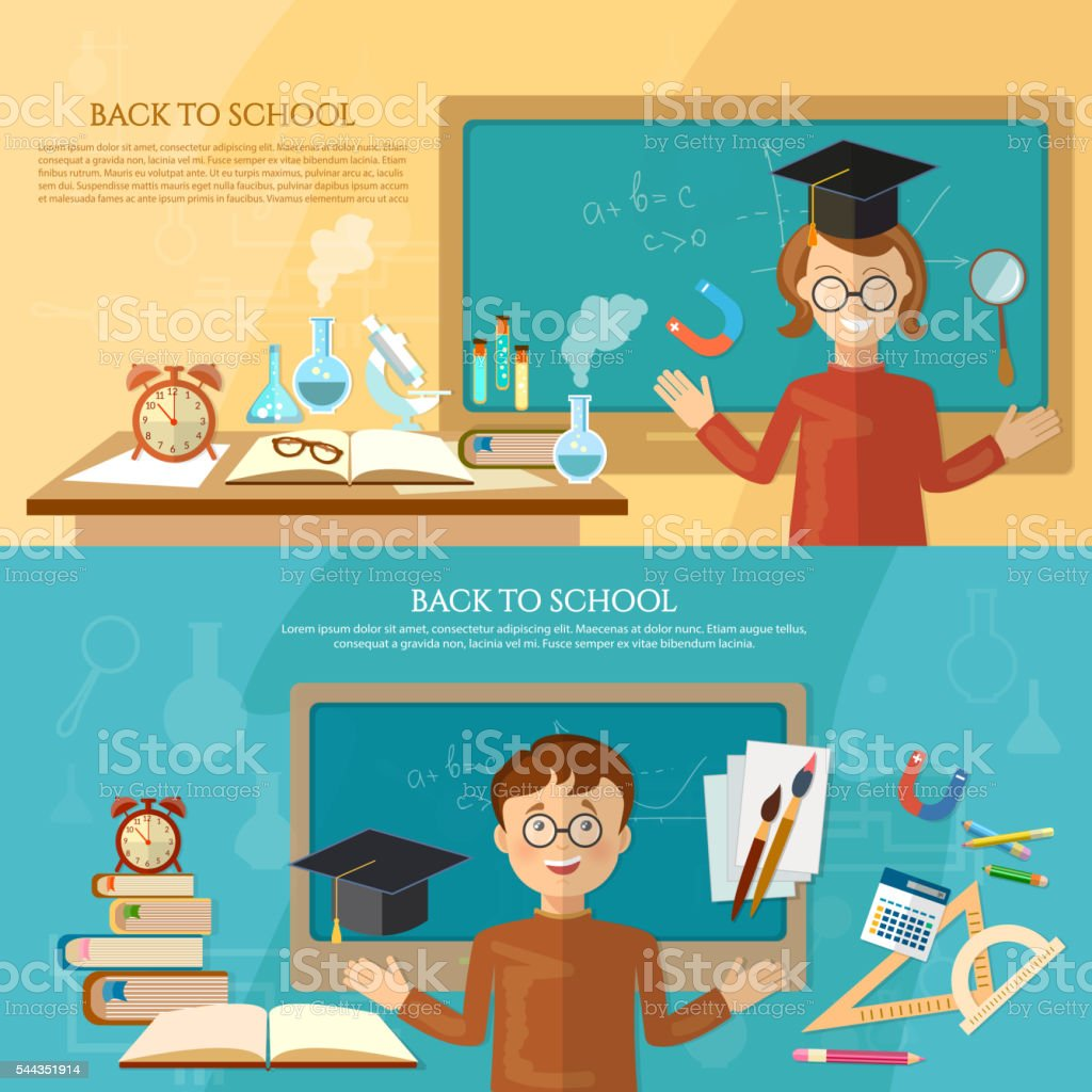 Education banner back to school student at the school board vector art illustration