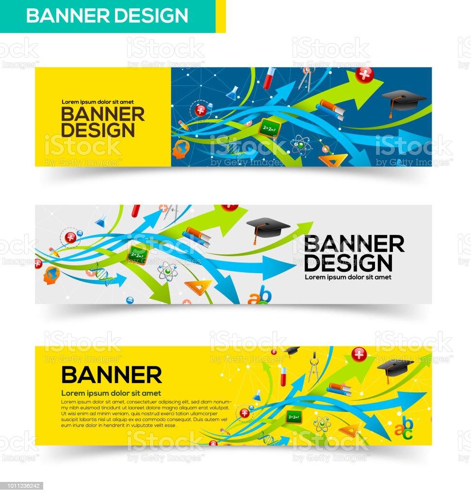 Education banner design vector art illustration