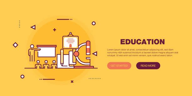 ilustraciones, imágenes clip art, dibujos animados e iconos de stock de la educación banner - training