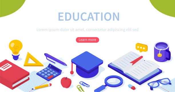 bildbanksillustrationer, clip art samt tecknat material och ikoner med utbildning banner - digital device classroom