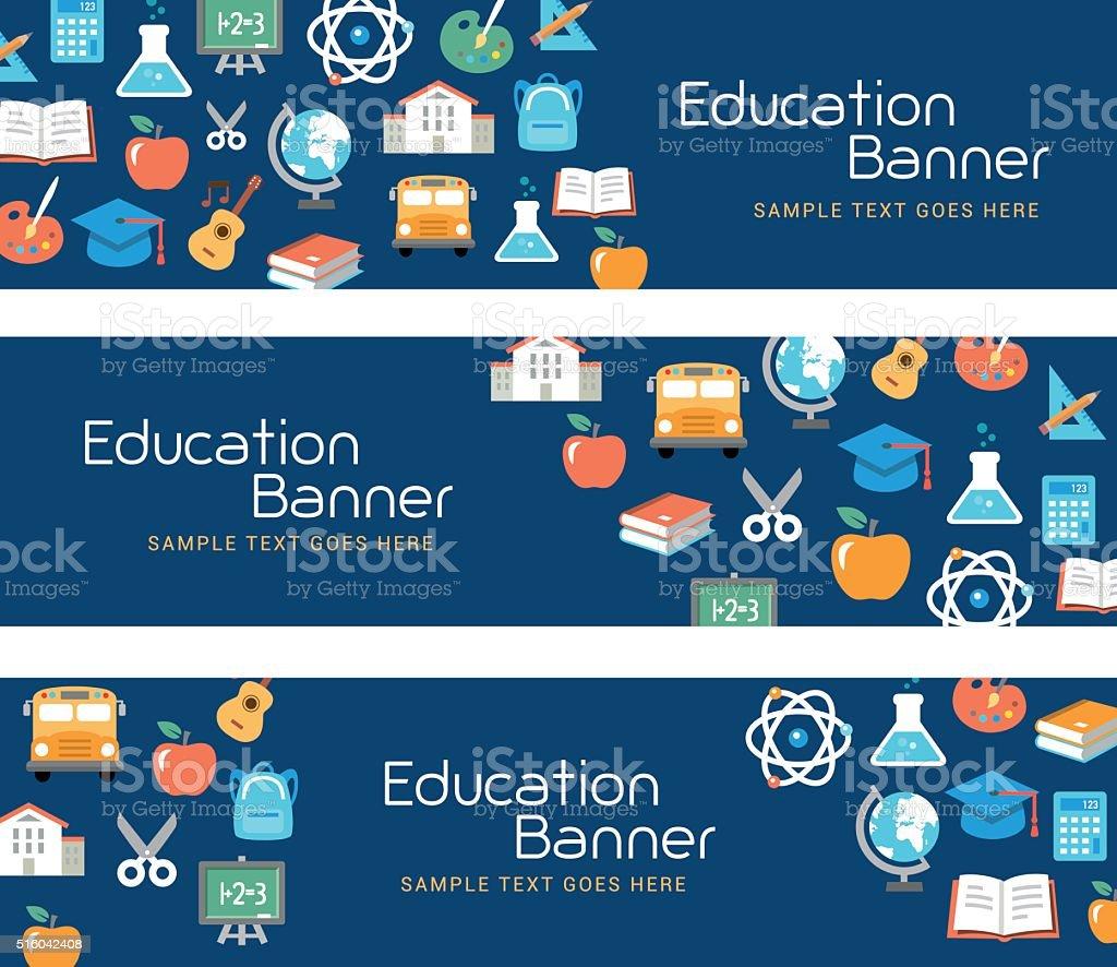 Education Banners vector art illustration