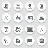 Education black icons on white buttons.