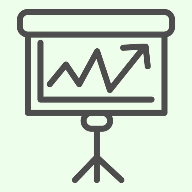 bildbanksillustrationer, clip art samt tecknat material och ikoner med ikon för utbildningsnämndens linje. presentationsdisk med diagramdispositionsformatpiktogram på vit bakgrund. skola och kunskap tecknar för mobilt koncept och webbdesign. vektorgrafik. - wood sign isolated