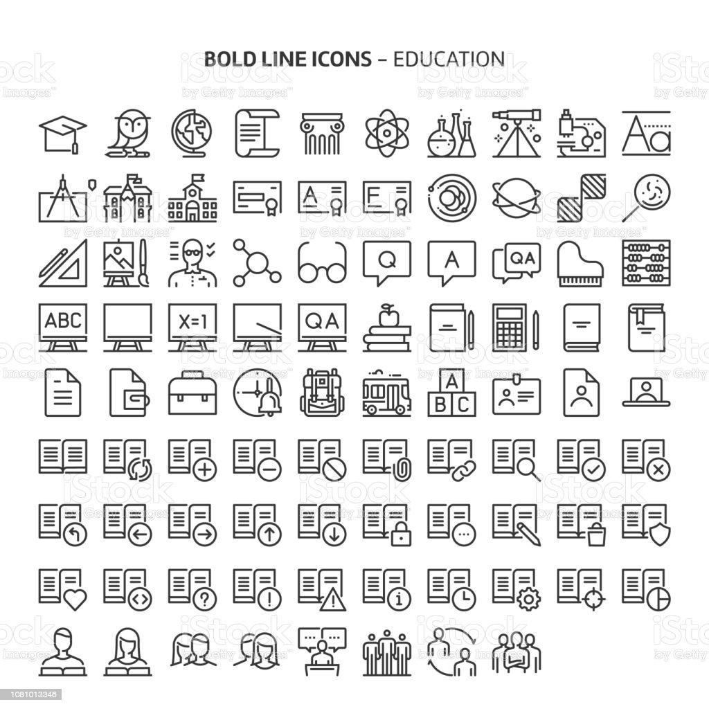 Educación, los iconos de línea - ilustración de arte vectorial