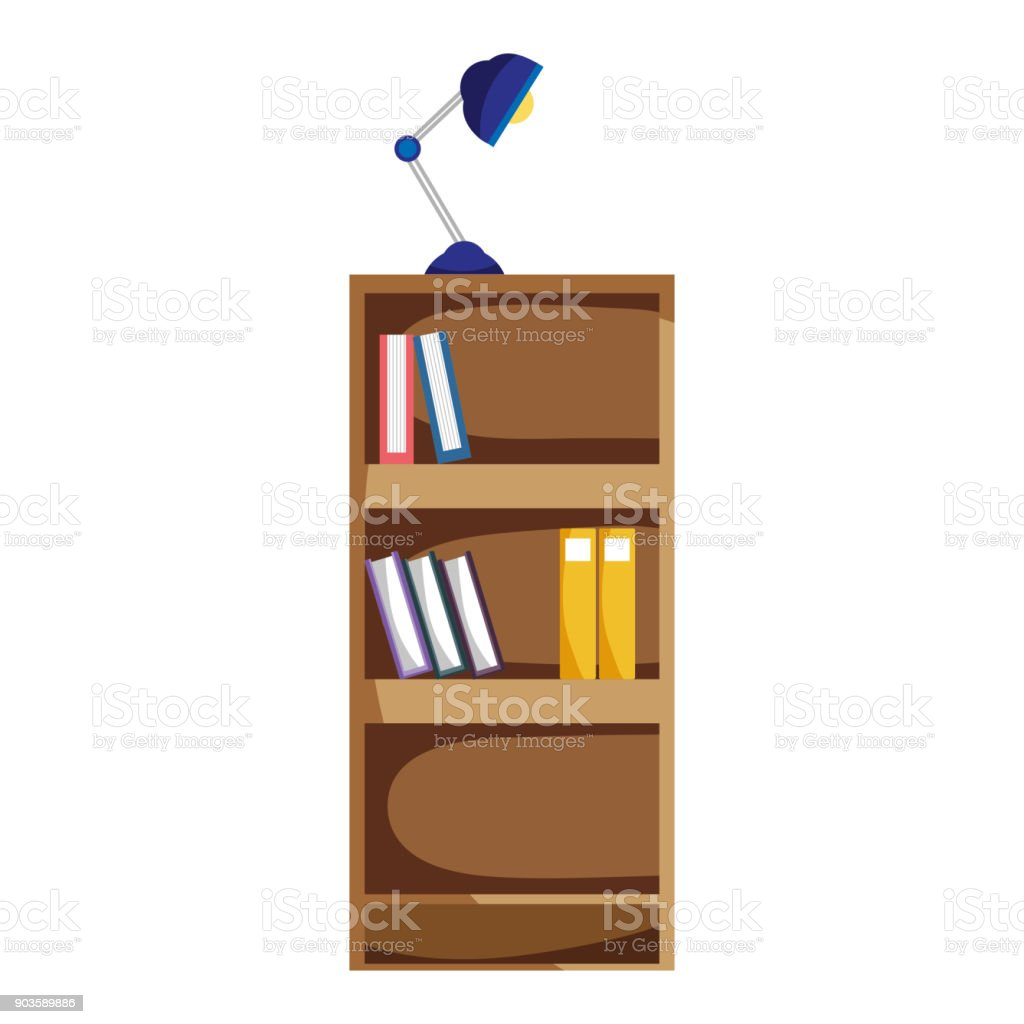 Education Bookcase With Books And Desk Lamp Royalty Free
