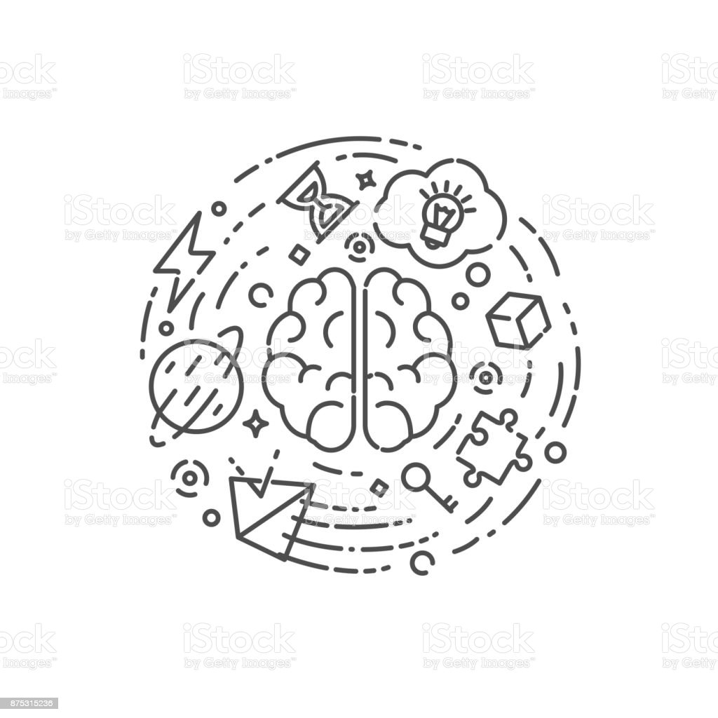 Education, brain training vector illustration outline style vector art illustration