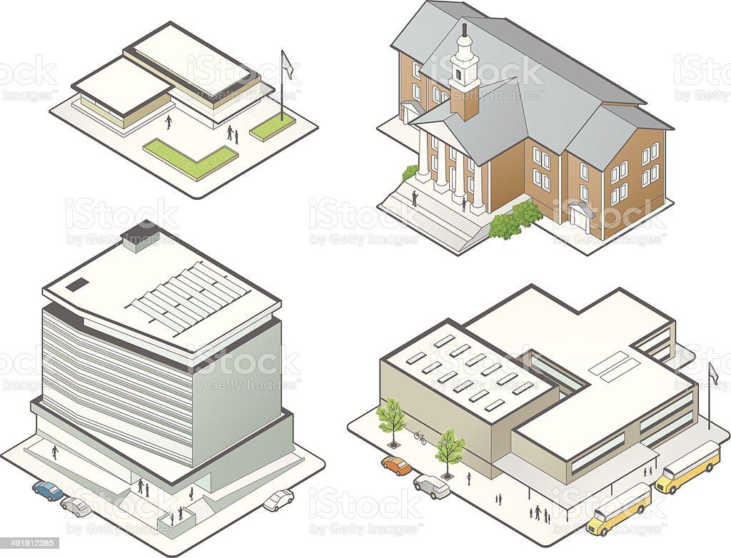 Education Building Illustrations vector art illustration