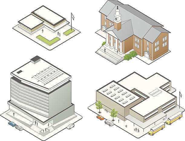 education building illustrations - mathisworks people icons stock illustrations, clip art, cartoons, & icons
