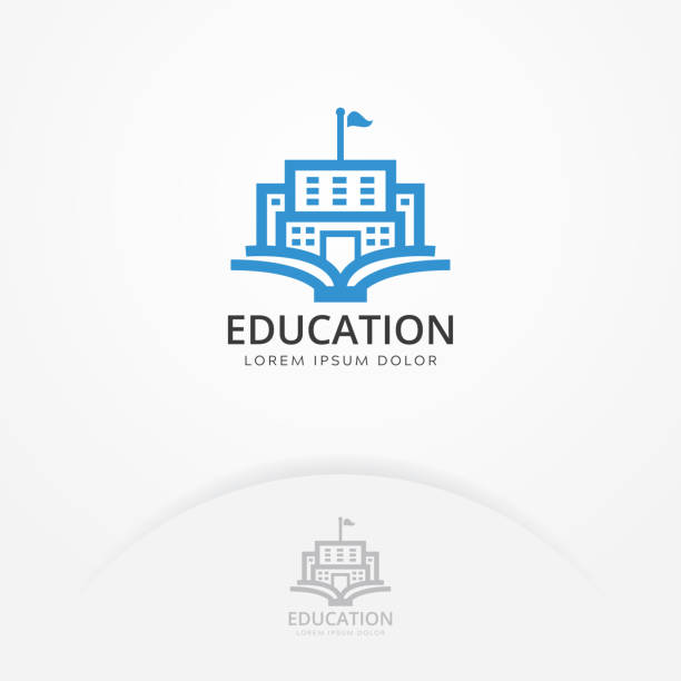 Education building logo Education building logo. Vector of book and a building, symbol of library and study. Education and University logo template campus stock illustrations