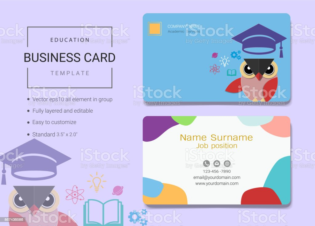 Education business card or name card template simple style also education business card or name card template simple style also modern and elegant with owl accmission Image collections