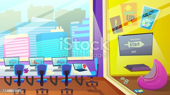 Interior Education Center. Company Staff Training. School Empty Room with Computers on Desk in Front of Large Window with City View. Tutor Place with Soft Armchair Cartoon Flat Vector Illustration