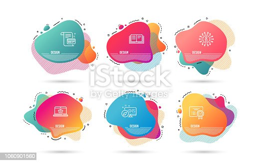 Dynamic liquid shapes. Set of Education, Certificate and Payment card icons. Online shopping sign. Instruction book, Verified document, Agreement conditions. Notebook with shopping cart. Vector