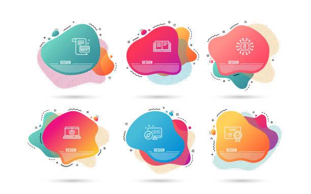 教育, 證書和支付卡圖示。網上購物標誌。向量 - 形狀 幅插畫檔、美工圖案、卡通及圖標