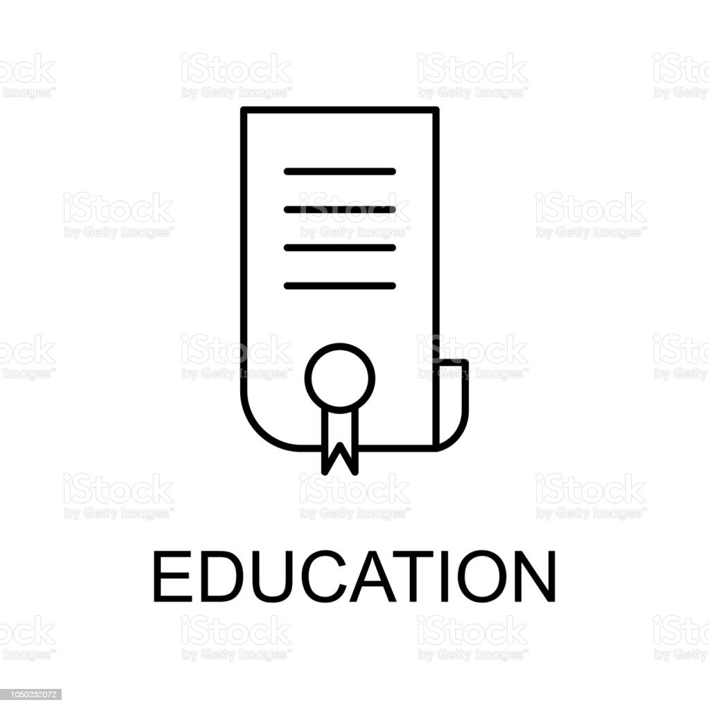 Education Certificate Line Icon Element Of Human Resources Signs