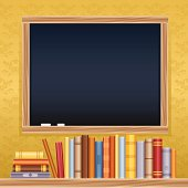 Back to school chalkboard and books with space for copy.