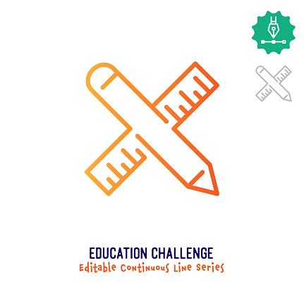 Education Challenge Continuous Line Editable Stroke Icon