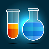 Education Chemistry Themed Infographic with Flasks.  Vector illustration
