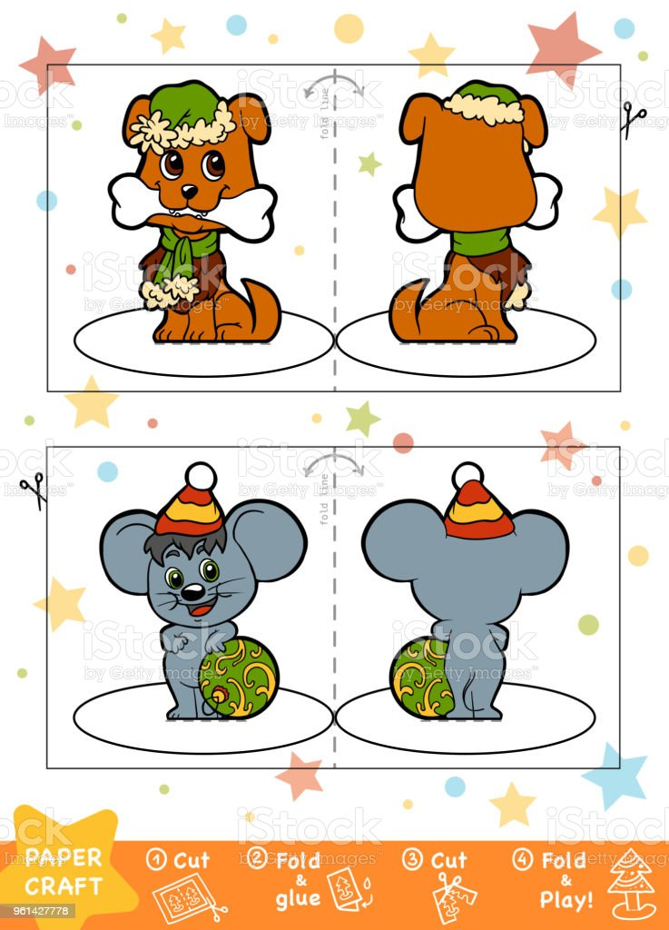 Education Christmas Paper Crafts For Children Dog And Mouse Stock