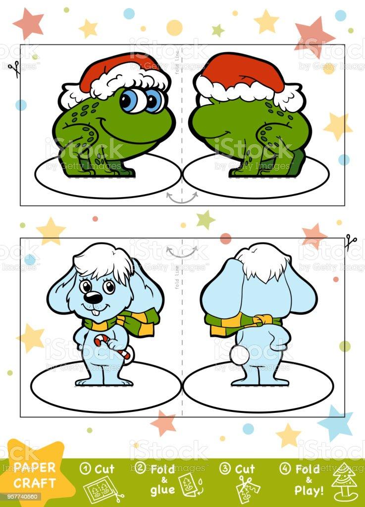 Bildung Weihnachten Papier Basteln Für Kinder Hase Und Frosch Stock ...