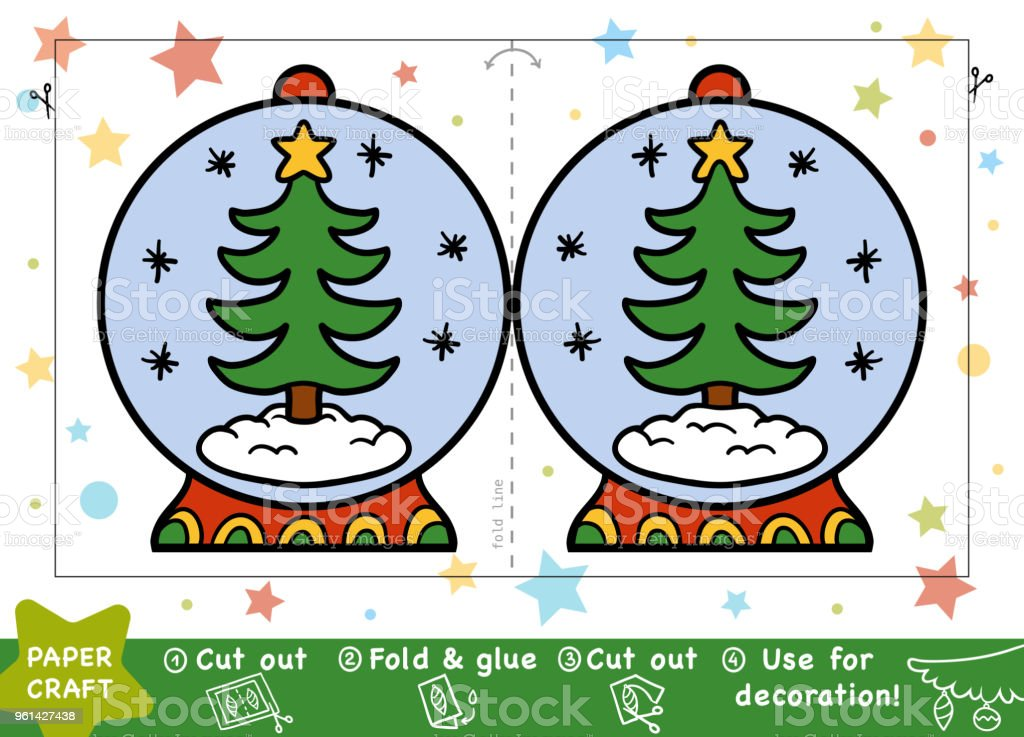 Education Christmas Paper Crafts For Children Snowball And Christmas