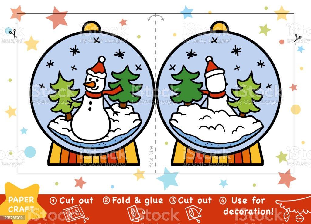 Bildung Weihnachten Papier Basteln Für Kinder Schneeball Mit Einem ...
