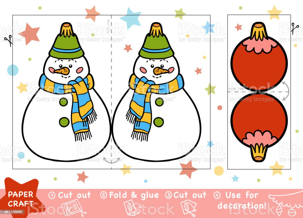 Ilustración de Educación Navidad Papel Manualidades Para Niños Bolas ...