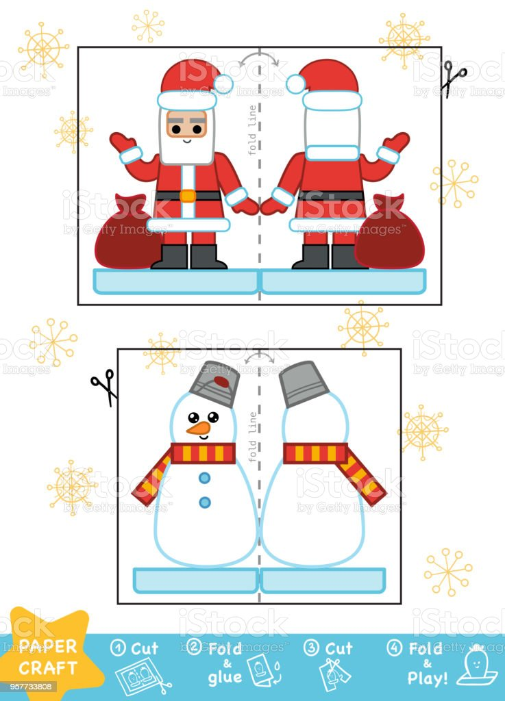 Education Christmas Paper Crafts For Children Snowman And Santa