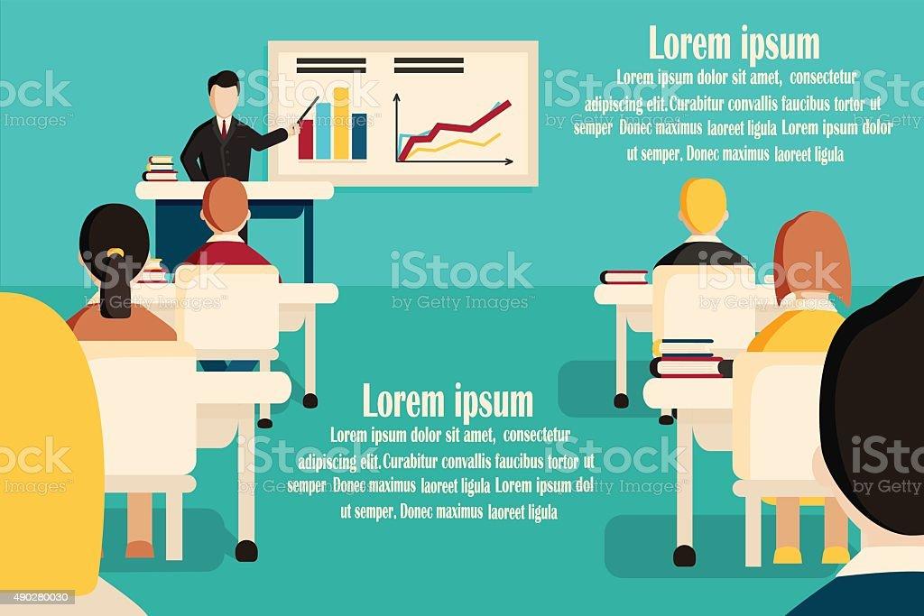 Education classroom vector banner. vector art illustration