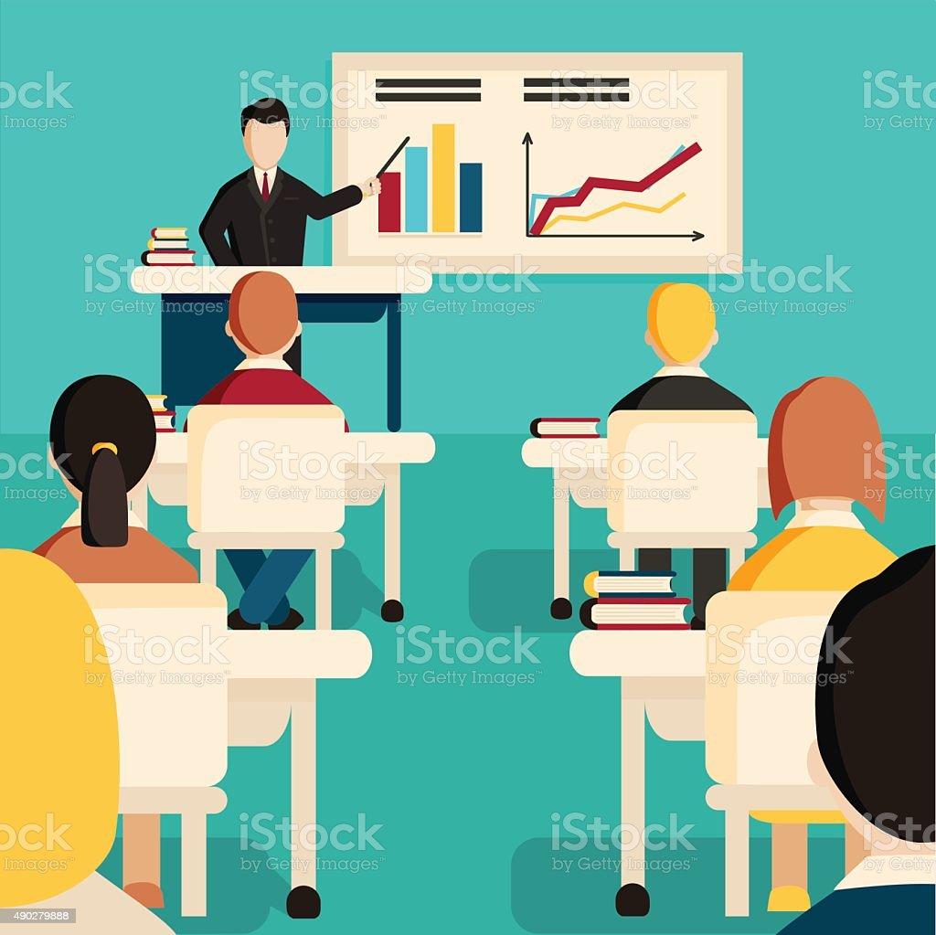Education classroom vector illustration. vector art illustration