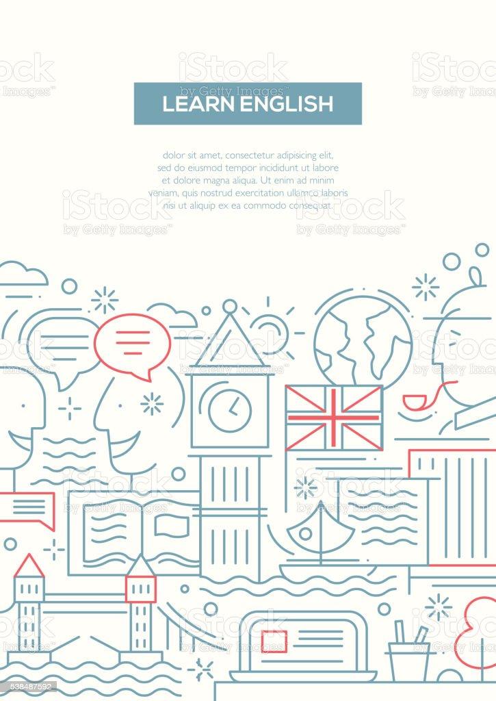 Education composition - line flat design banner vector art illustration