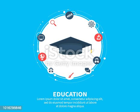 Education concept. Abstract background with connected gears and icons for elearning, knowledge, learn, analytics, network, social media and global concepts. Vector infographic illustration